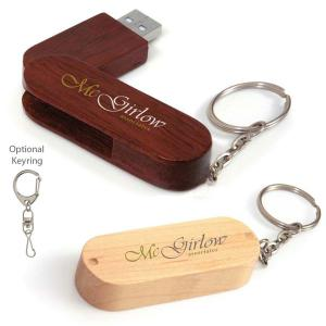1 GB Bamboo Bullet Keyring USB 2.0 Flash Drive