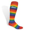 Flat Knit Rainbow Cotton Knee High Sock with Direct Embroidery